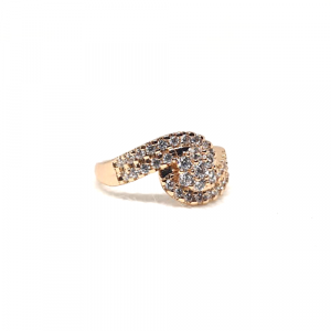 Stylish Curve Stones Goldplated Ring