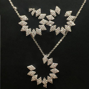 The Triangle Edged Silver Plated Necklace Along with the Matching Half Loop Earrings