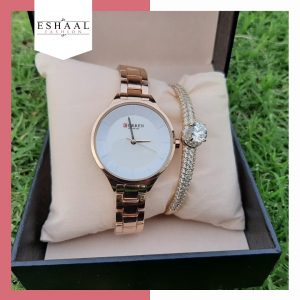 Pair Gold Plated Crystal Bracelet With Elegant Watch By Eshaal