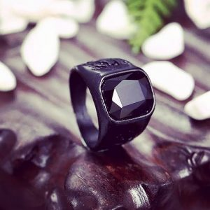 Men's Reality Black Stone Ring – Stainless Steel