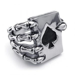 Claw Spades Poker Ring Stainless Steel