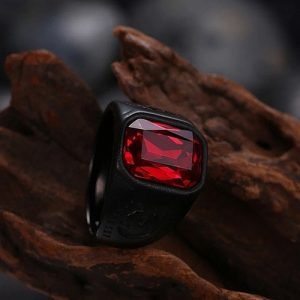 Men's Reality Red Stone Ring – Stainless Steel