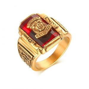 Red Vintage Ring for Men Jewelry 1973 Walton Tiger Stainless Steel