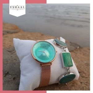 Sea Green Dial Copper Gold Watch with Bracelet – With Warranty