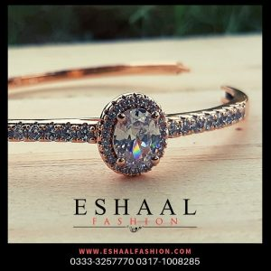 Gold Plated Big Crystal with Zircons Stainless Steel Bangles