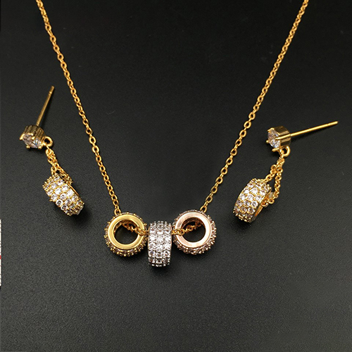 Wheel Trio Necklace and Earrings Fashion Designer Jewellery Set 2