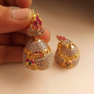 Women's Multi Gold Plated Jhumka Earrings