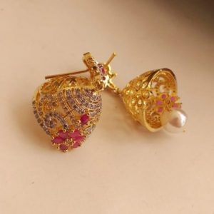 Women's Gold Plated Rubies and Stones Jhumka Earrings