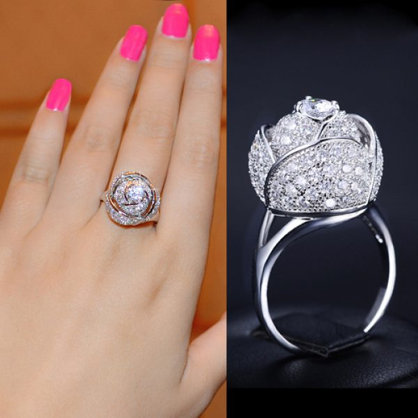 fashion-new-style-women-ring-rhodium-color-rose-flower-female-ring-with-5mm-0.5ct-cz-stone-noble-design-Ring