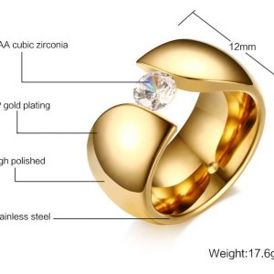 luxury-solitaire-ring-for-women-gold-color-stainless-steel- Ring 3