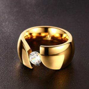 luxury-solitaire-ring-for-women-gold-color-stainless-steel- Ring
