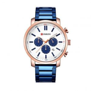 ORIGINAL CURREN Chronograph Quartz Men Waterproof Wrist Watch  Blue with Rose Gold Dial