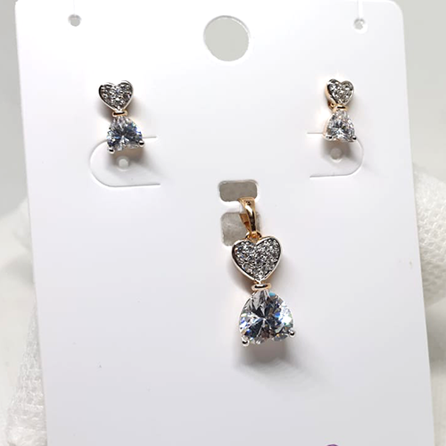Crystal Bow Style Small Locket Set with Chain 2