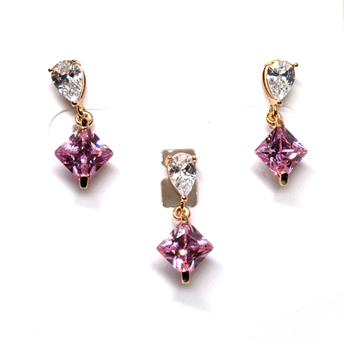 Crystal Pink Triangle Small Locket set with Chain
