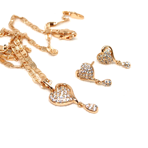 Zirconia Goldplated Heart Shape Locket Set with Chain 2