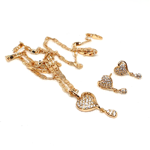 Zirconia Goldplated Heart Shape Locket Set with Chain 3