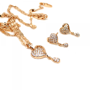 Zirconia Goldplated Heart Shape Locket Set with Chain