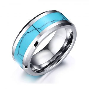 Men Bezel Aqua Tungsten Ring