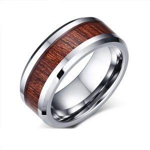 Men Bezel Fire  Tungsten Ring