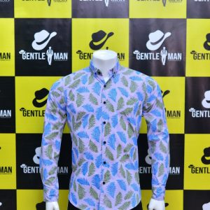 Fashionable Light Blue Textured Men Shirt