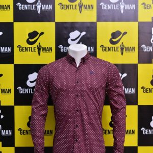 Stylish Mahroon Textured Men Shirt