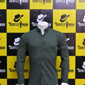 Stylish Dark Green Textured Men Shirt