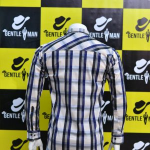 Fashionable Blue,Black & White Check Men Shirt