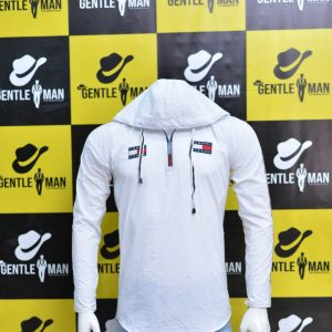 Trendy Tommy Hilfiger White Men Shirt with Hoodie