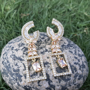 Goldplated Crystal Champagne Stones Square Style Earrings 2