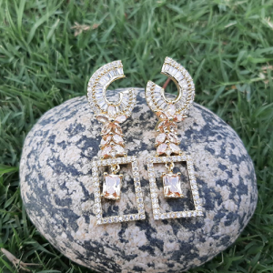 Goldplated Crystal Champagne Stones Square Style Earrings