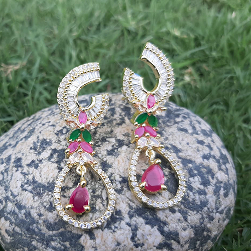 Goldplated Ruby Green Crystal Stones Diamond Style Earrings 2