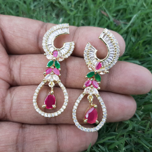 Goldplated Ruby Green Crystal Stones Diamond Style Earrings 3