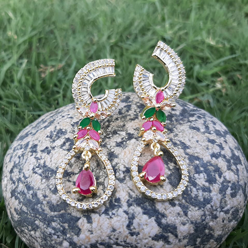 Goldplated Ruby Green Crystal Stones Diamond Style Earrings