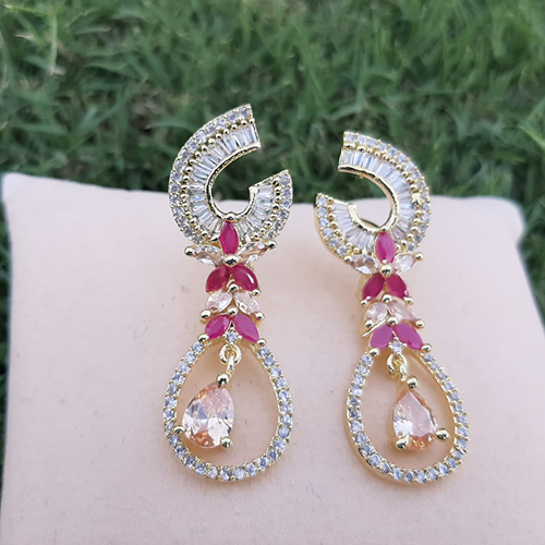 Goldplated Ruby with Champagne Stones Diamond Style Earrings 2