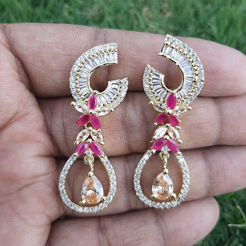 Goldplated Ruby with Champagne Stones Diamond Style Earrings 3