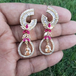 Goldplated Ruby with Champagne Stones Diamond Style Earrings