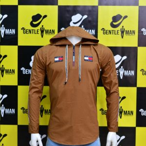 Stylish Light Brown Highlighted Men Shirt with hoodie