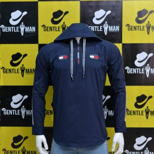 Fashionable Dark Blue Highlighted Men Shirt with hoodie
