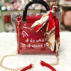 New Red Color Jelly Handle Bow Cross-body Bags