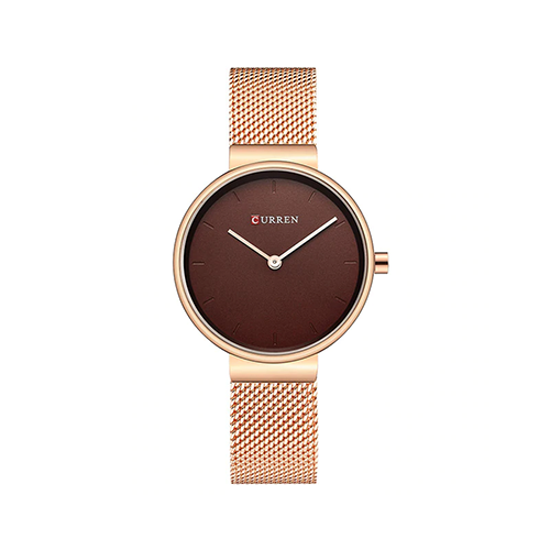 Curren Rose Gold with Maroon Dial Women Watch