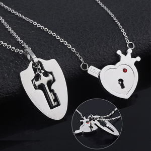 MIDY-Lovers-Jewelry-Crown-Love-Heart-Necklaces-Set-Key-Pendant-Stainless-Steel-Choker-Necklace-Couples-Valentine-(5)