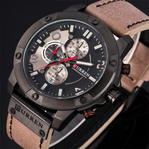 New Watches Men Luxury Brand CURREN Chronograph Grey Leather Strap