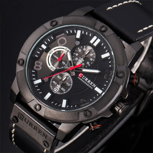 New Watches Men Luxury Brand CURREN Chronograph Black Leather Strap