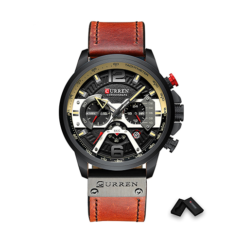 New Curren Black with Brownish Red Men Watch