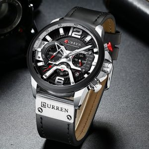 New Curren Black with Silver Men Watch2
