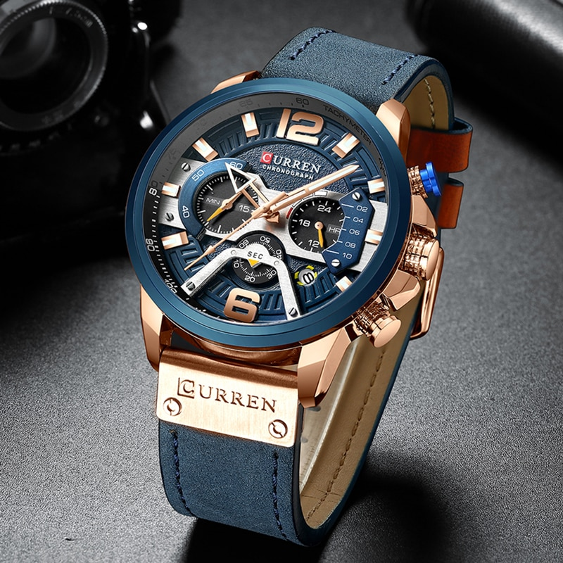 New Luxury Blue Dial With Blue Leather Strap Watch For Men