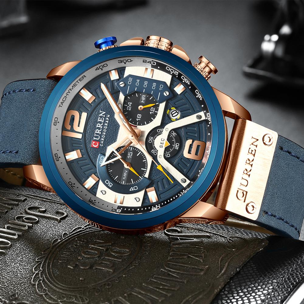 New Luxury Blue Dial With Blue Leather Strap Watch For Men 2