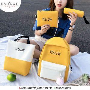 Yellow Letter Embroidery backpack4pcs Set