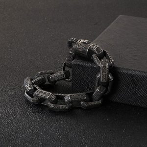 Antique Grey Stainless Steel Men Bracelet 3