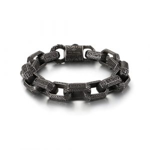 Antique Grey Stainless Steel Men Bracelet